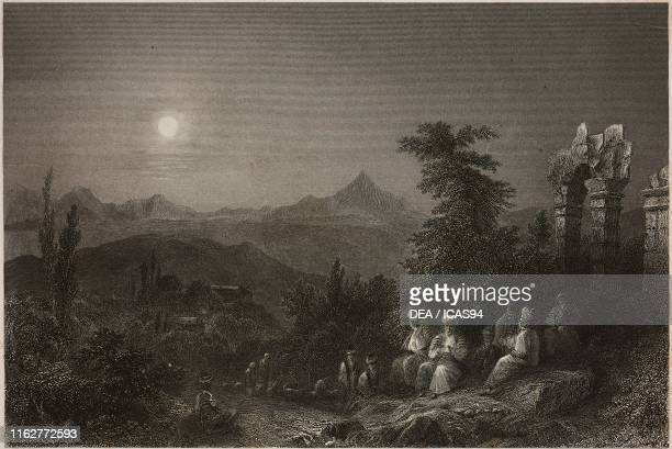 Shepherds in the village of Beit y Ass near Suadeah Turkey engraving by S Bradshaw after a drawing by W H Bartlett from La Siria e l'Asia minore...