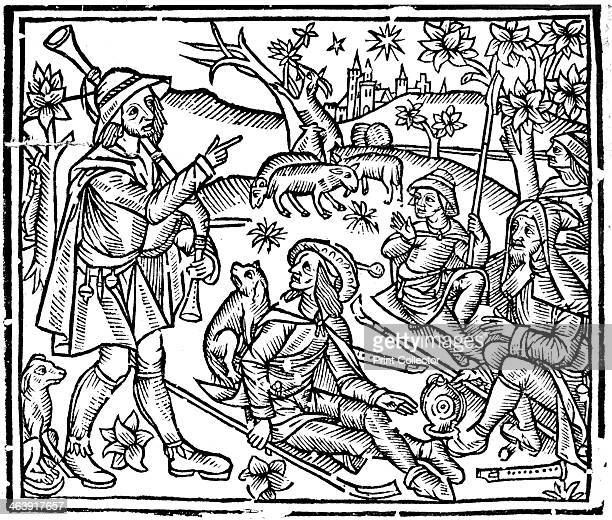Shepherds with their flocks and dogs early 16th century Figure on left is holding bagpipes and as well as crooks for handling the sheep there are...