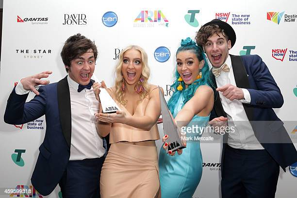 Sheppard pose in the awards room with their ARIA for Best Group during the 28th Annual ARIA Awards 2014 at the Star on November 26 2014 in Sydney...