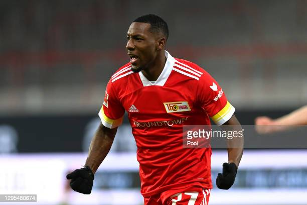 Sheraldo Becker of 1. FC Union Berlin celebrates after scoring his team's first goal during the Bundesliga match between 1. FC Union Berlin and VfL...