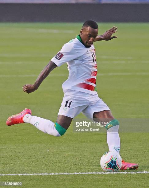 Sheraldo Becker of Suriname passes against Canada during a FIFA World Cup Qualifier at SeatGeek Stadium on June 08, 2021 in Bridgeview, Illinois....
