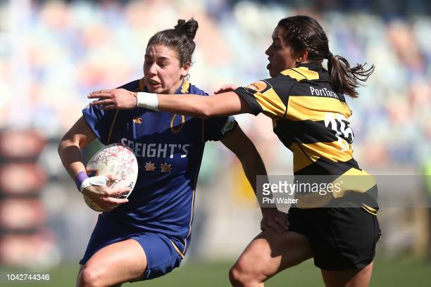 Sheree Hume of Otago is tackled during the round five Farah Palmer Cup match between Taranaki and Otago at Yarrow Stadium on September 29 2018 in New...
