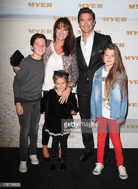 Sheree Murphy poses alongside husbband Harry Kewell and their children at the Myer Spring/Summer 2014 Collections Launch at Fox Studios on August 8...
