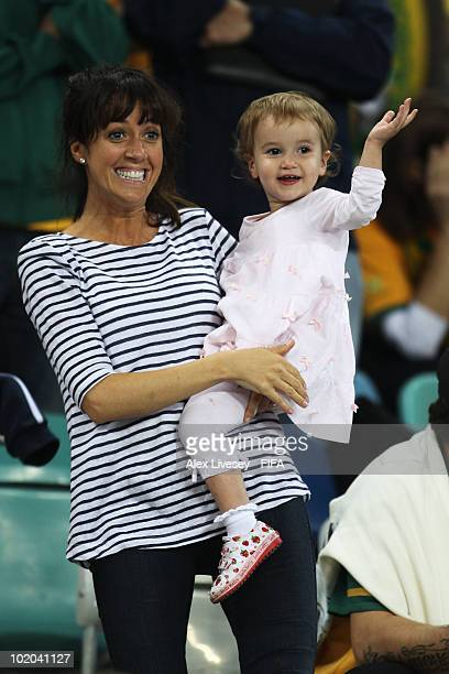 Sheree Murphy, wife of Harry Kewell of Australia and their children show their support during the 2010 FIFA World Cup South Africa Group D match...