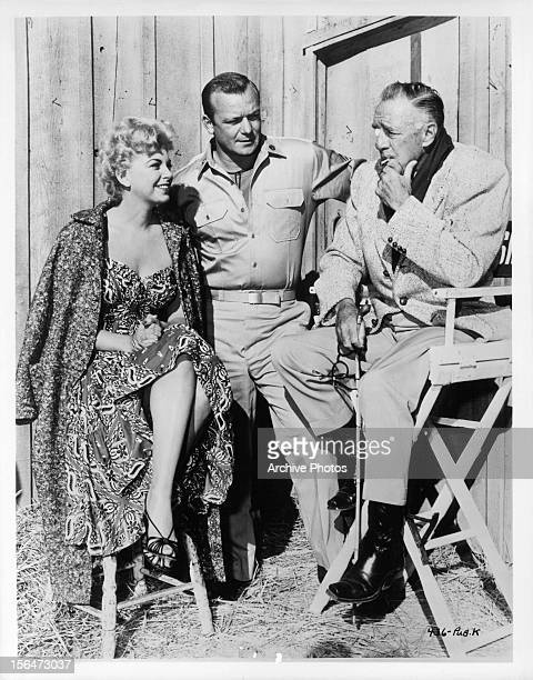 Sheree North and Aldo Ray on the set for the film 'The Naked And The Dead' 1958