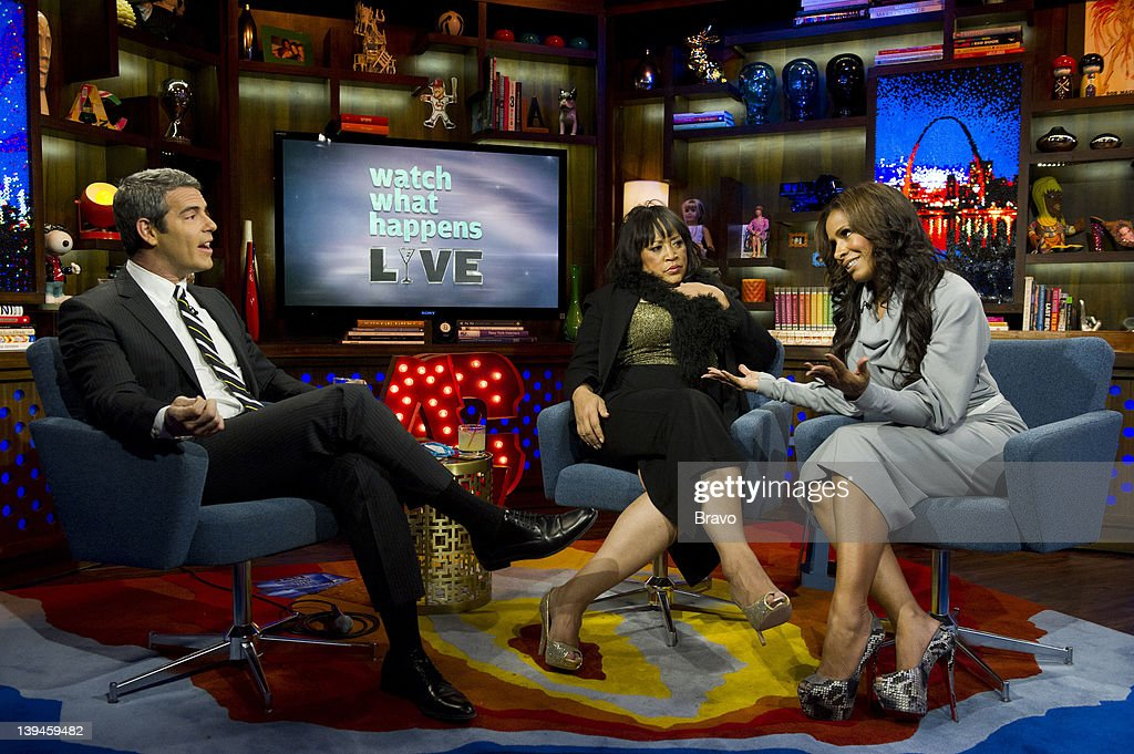 LIVE -- 'Sheree Whitfield and Jackee Harry' Episode 629 -- Pictured: (l-r) Andy Cohen, Jackee Harry, Sheree Whitfield --