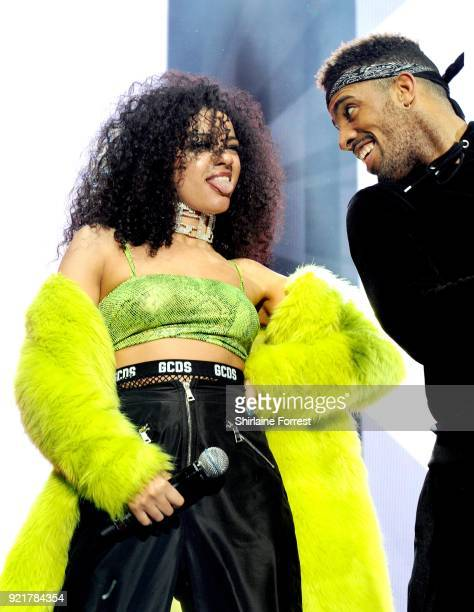 Shereen Cutkelvin of The Cutkelvins performs during The X Factor Live at Manchester Arena on February 20 2018 in Manchester United Kingdom