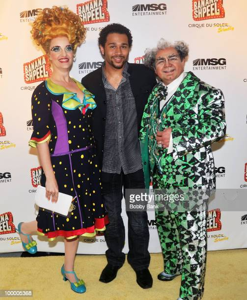 Shereen Hickman Corbin Bleu and Danny Rutigliano attend the opening night of Cirque du Soleil's Banana Shpeel at the Beacon Theatre on May 19 2010 in...