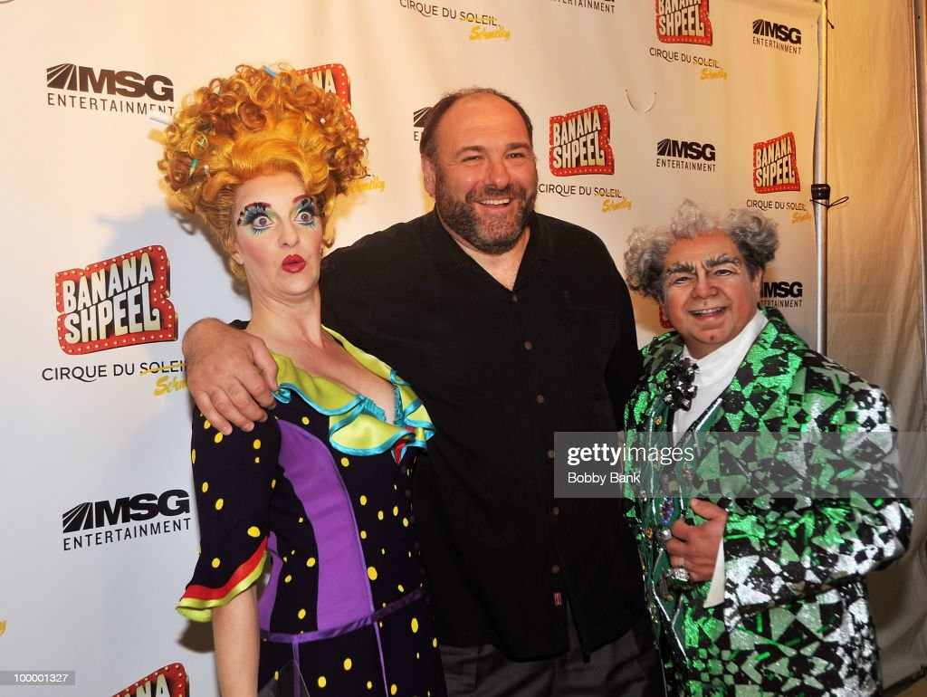 Shereen Hickman, James Gandolfini and Danny Rutigliano attend the opening night of Cirque du Soleil's 'Banana Shpeel' at the Beacon Theatre on May 19, 2010 in New York City.