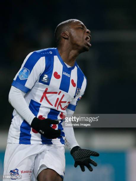 Sherel Floranus of SC Heerenveen, celebrates his goal the 1-1 during the Dutch Eredivisie match between SC Heerenveen v VVV-Venlo at the Abe Lenstra...