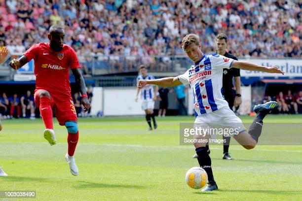 Sherel Floranus of SC Heerenveen during the Club Friendly match between SC Heerenveen v Kayserispor at the Abe Lenstra Stadium on July 21 2018 in...