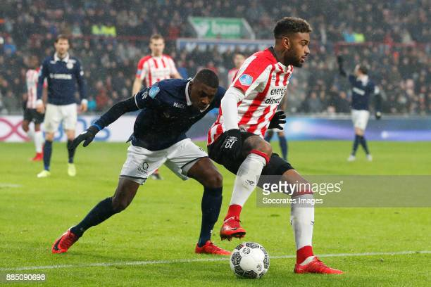 Sherel Floranus of Sparta Rotterdam Jurgen Locadia of PSV during the Dutch Eredivisie match between PSV v Sparta at the Philips Stadium on December 3...