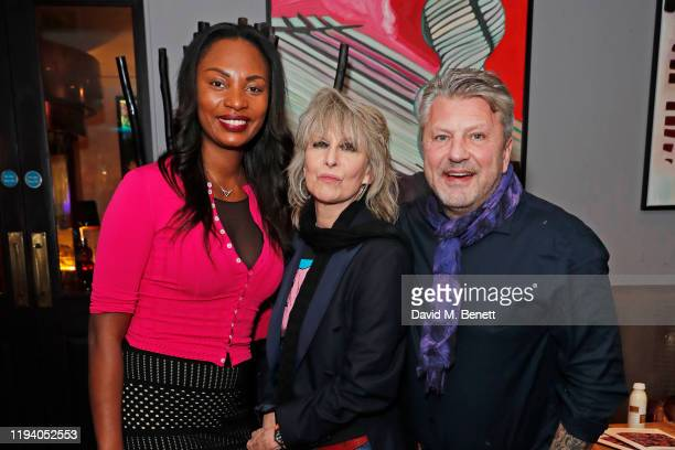 Sherene Fuller Chrissie Hynde and Mark Fuller attend the launch of Chrissie Hynde's The Sanctum Collection at the Karma Sanctum Soho hotel on January...