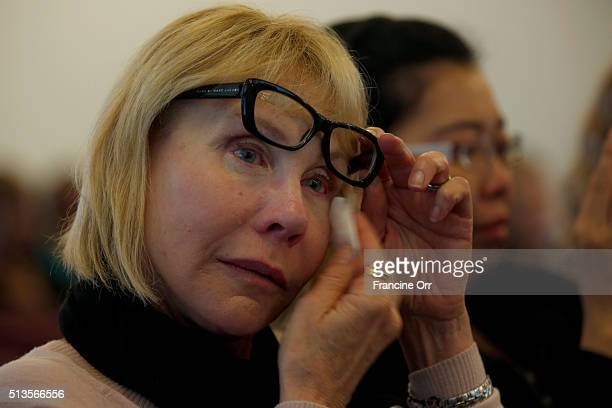 Sheri Kessel cries during a dedication at Children of Promise Preparatory Academy in Inglewood CA March 3 2016 Sheri Kessel was Benny Goldbin's...
