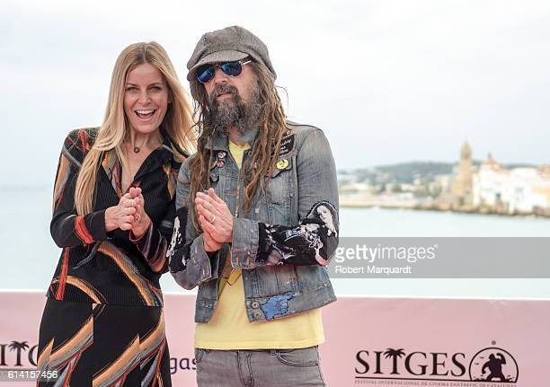 Sheri Moon and Rob Zombie pose during a photocall at the Sitges Film Festival 2016 on October 12 2016 in Sitges Spain