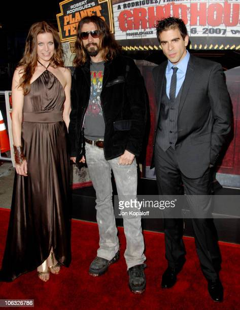 Sheri Moon Rob Zombie and Eli Roth during Grindhouse Los Angeles Premiere Arrivals at Orpheum Theatre in Los Angeles California United States