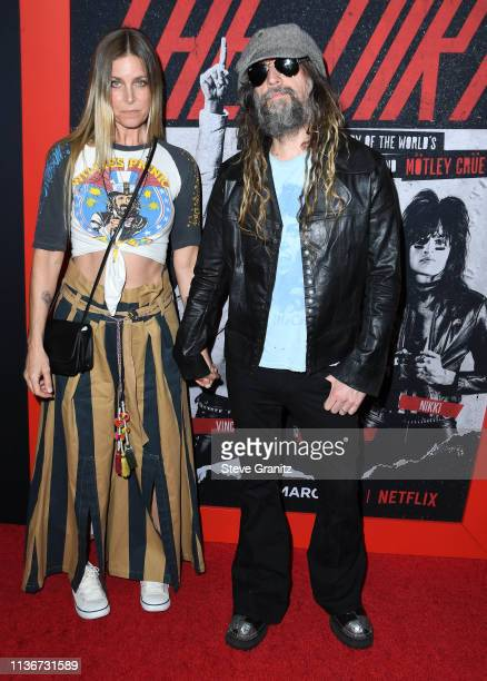 Sheri Moon Zombie and Rob Zombie arrives at the Premiere Of Netflix's The Dirt at ArcLight Hollywood on March 18 2019 in Hollywood California