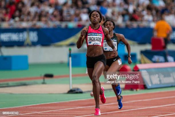 Shericka Jackson of Jamaica competes in the 200m Women of the IAAF Diamond League Meeting de Paris 2018 at the Stade Charlety on June 30 2018 in...