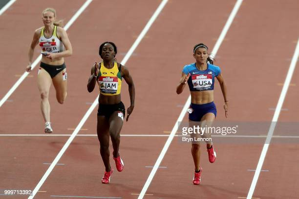Shericka Jackson of Jamaica crosses the line ahead of Jenna Prandini of the USA to win the Women's 200m during day two of the Athletics World Cup...