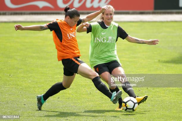Sherida Spitse of Holland Women, Desiree van Lunteren of Holland Women during the Training Holland Women at the KNVB Campus on June 5, 2018 in Zeist...