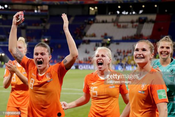 Sherida Spitse of Holland Women, Inessa Kaagman of Holland Women, Desiree van Lunteren of Holland Women Celebrates the victory during the World Cup...