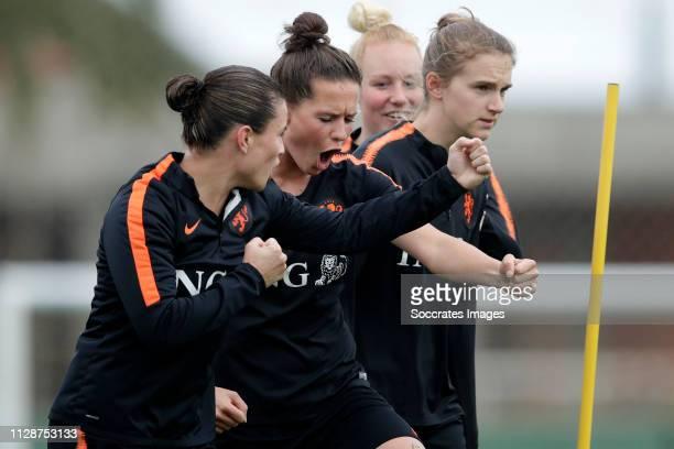 Sherida Spitse of Holland Women, Merel van Dongen of Holland Women, Vivianne Miedema of Holland Women, Danique Kerkdijk of Holland Women during the...