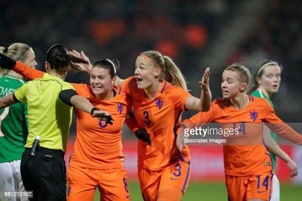 Sherida Spitse of Holland Women, Stefanie van der Gragt of Holland Women, Jackie Groenen of Holland Women showing their frustration to referee...