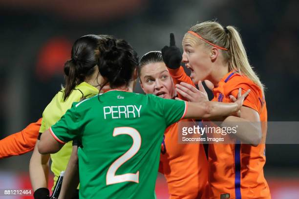 Sherida Spitse of Holland Women Stefanie van der Gragt of Holland Women showing their frustration to referee Aanastasia Pustovoitova after not given...