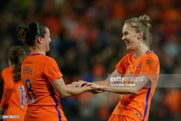 Sherida Spitse of Holland Women Vivianne Miedema of Holland Women celebrates 10 during the World Cup Qualifier Women match between Holland v Norway...