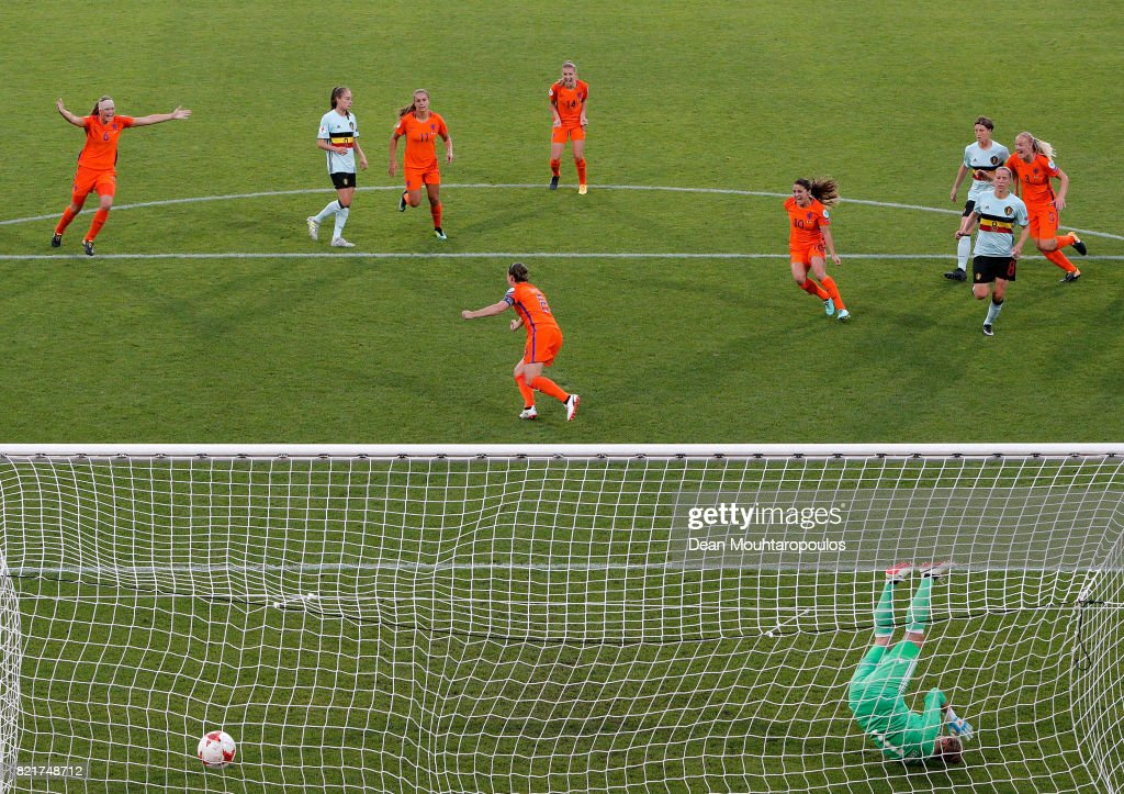 Sherida Spitse #8 of Netherlands celebrate with her team mates after she scores the opening goal by penalty kick during the Group A match between Belgium and Netherlands during the UEFA Women's Euro 2017 at Koning Willem II Stadium on July 24, 2017 in Tilburg, Netherlands.