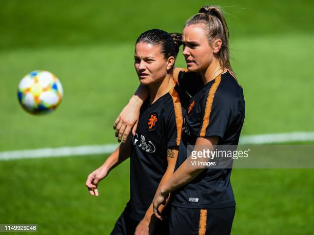 Sherida Spitse of Netherlands women Jill Roord of Netherlands women during a training session prior to the FIFA Women's World Cup France 2019 group E...