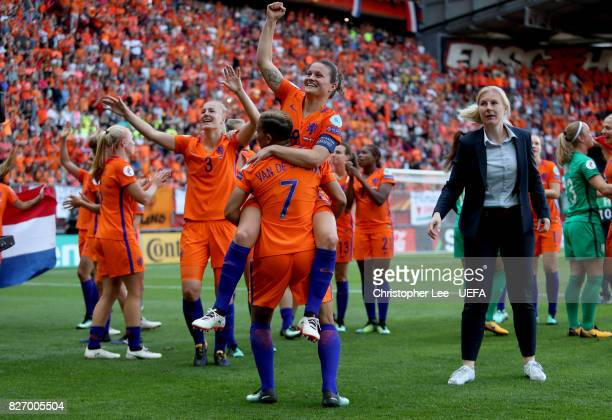 Sherida Spitse of the Netherlands and Shanice van de Sanden of the Netherlands celebrate following the Final of the UEFA Women's Euro 2017 between...