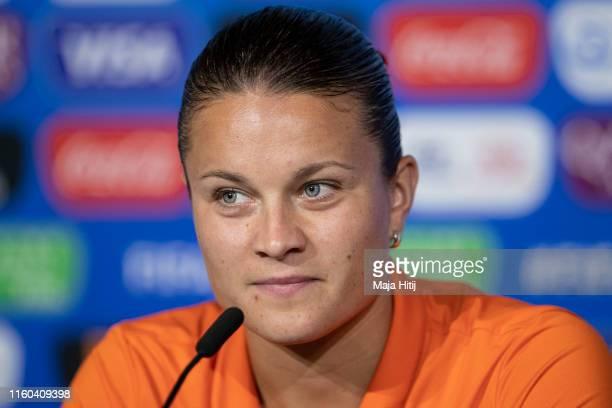 Sherida Spitse of the Netherlands attends a press conference on July 06, 2019 in Lyon, France.