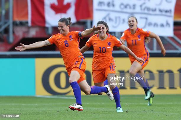 Sherida Spitse of the Netherlands celebrates after scoring her team's third goal of the game during the Final of the UEFA Women's Euro 2017 between...