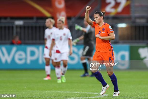 Sherida Spitse of the Netherlands celebrates scoring her sides first goal during the UEFA Women's Euro 2017 Group A match between Netherlands and...