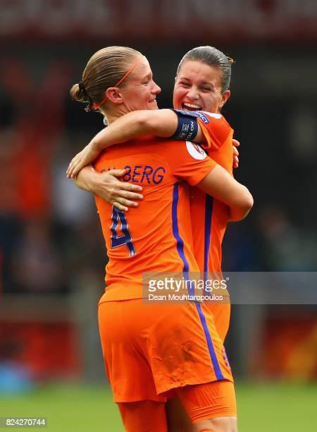 Sherida Spitse of the Netherlands celebrates victory with Mandy van den Berg of the Netherlands during the UEFA Women's Euro 2017 Quarter Final match...