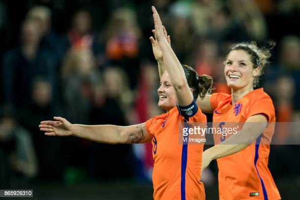 Sherida Spitse of the Netherlands Dominique Janssen of the Netherlands during the FIFA Women's World Cup 2019 qualifying match between The...