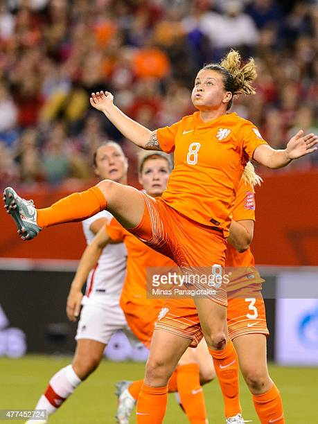 Sherida Spitse of the Netherlands jumps during the 2015 FIFA Women's World Cup Group A match against Canada at Olympic Stadium on June 15 2015 in...