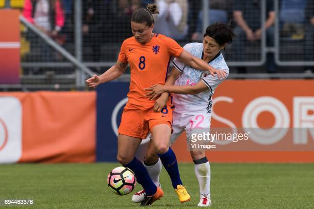 Sherida Spitse of the Netherlands Naomoto Hikaru of Japanduring the friendly match between the women of The Netherlands and Japan at the Rat Verlegh...