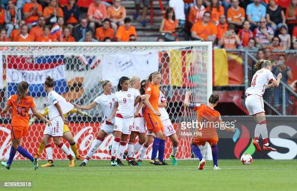 Sherida Spitse of the Netherlands scores her team's third goal of the game during the Final of the UEFA Women's Euro 2017 between Netherlands v...