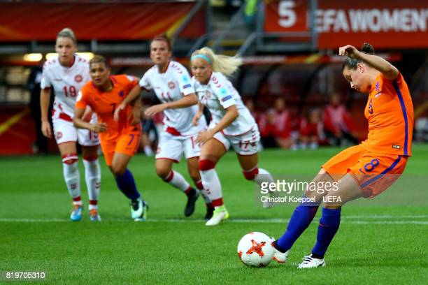 Sherida Spitse of the Netherlands scores the first goal by penalty during the UEFA Women's Euro 2017 Group A match between Netherlands and Denmark at...