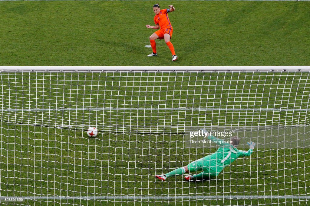 Sherida Spitseof Netherlands scores the opening goal from a penalty kick past goalkeeper, Justien Odeurs of Belgium during the Group A match between Belgium and Netherlands during the UEFA Women's Euro 2017 at Koning Willem II Stadium on July 24, 2017 in Tilburg, Netherlands.