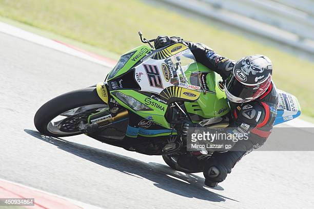 Sheridan Morais of South Africa and IRON BRAIN Grillini Kawasaki rounds a bend during the FIM Superbike World Championship Free Practice at Misano...