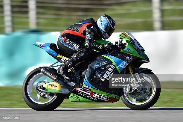 Sheridan Morais of South Africa No32 and IRON BRAIN GRILLINI KAWASAKI with Kawasaki ZX10R EVO rides during the second race of round six FIM Superbike...