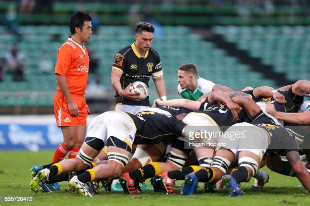 Sheridan Rangihuna of Wellington feeds a scrum while referee Shuhei Kubo looks on during the round one Mitre 10 Cup match between Manawatu and...
