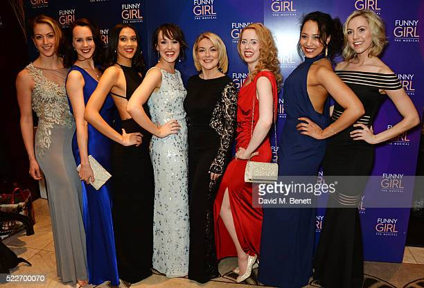 Sheridan Smith poses with cast members Sammy Kelly Leah Harris Sanchia Amber Clarke Emma Caffrey Clare Rickard Joelle Dyson and Rebecca Fennelly at...