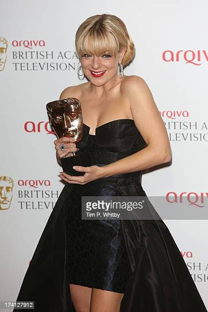Sheridan Smith poses with her award for Best Actress in the press room at the Arqiva British Academy Television Awards 2013 at the Royal Festival...
