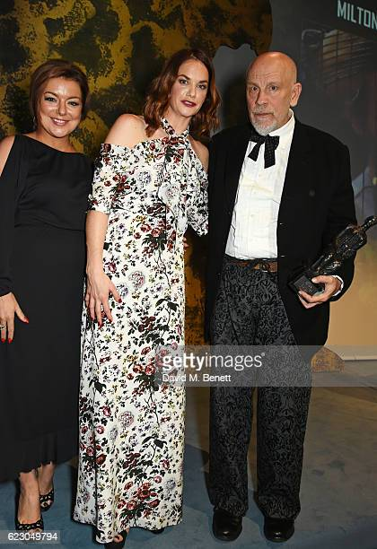 Sheridan Smith, Ruth Wilson and John Malkovich, winner of the Milton Shulman award for Best Director, pose onstage at the 62nd London Evening...