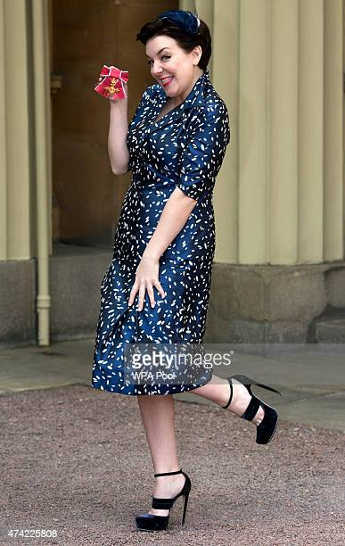 Sheridan Smith with her OBE for services to Drama at an investiture ceremony at Buckingham Palace on May 21 2015 in London England