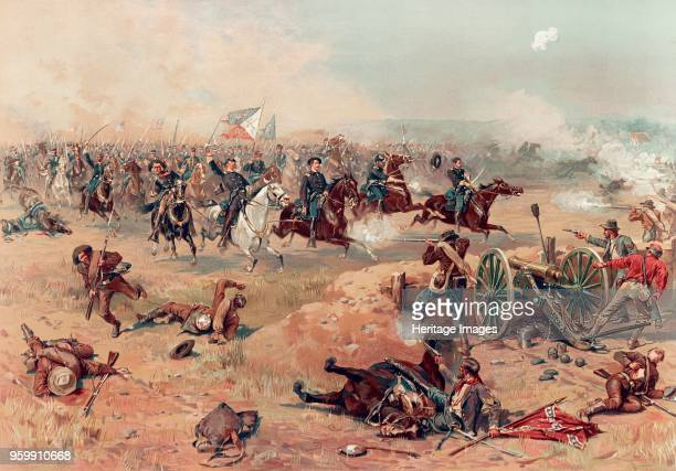 Sheridan's Final Charge at Winchester pub Prang Co 1886 colour lithograph Philip Henry Sheridan 1831 1888